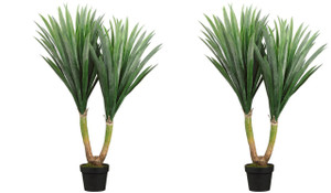 Two 43 inch Indoor or Outdoor Artificial Yucca Palm Trees Potted Plants