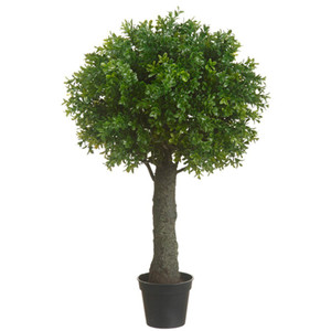 One 28 inch Outdoor Artificial Boxwood Ball Topiary Bush UV Rated Potted Plant