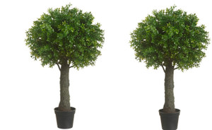 Two 28 inch Outdoor Artificial Boxwood Ball Topiary Bushes UV Rated Potted Plants