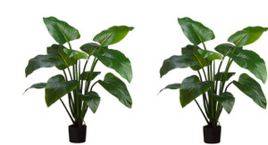 Two 4 foot Outdoor Artificial Eva Curcuma Palm Trees Potted Plants