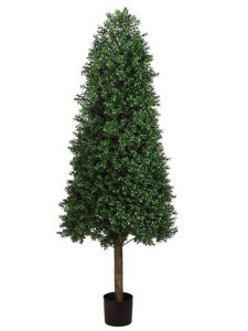 One 68 inch Outdoor Artificial Boxwood Cone Topiary Tree UV Potted Plant