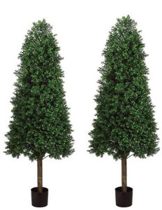 Two 68 inch Outdoor Artificial Boxwood Cone Topiary Trees UV Potted Plants