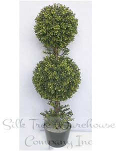 One 36 inch Outdoor Artificial Boxwood Double Ball Topiary Tree Potted UV Plant