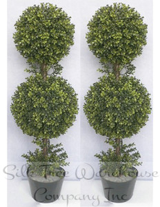Two 36 inch Outdoor Artificial Boxwood Double Ball Topiary Trees Potted UV Plants