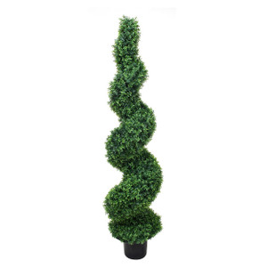 One 8 foot Outdoor Artificial Boxwood Spiral Topiary Tree Potted UV Rated Plant