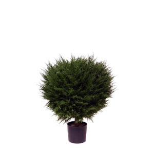 One 30 inch Outdoor Artificial Cypress Ball Topiary Tree Potted UV Rated Plant