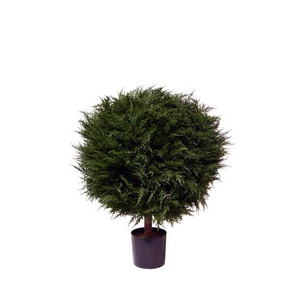 One 38 inch Outdoor Artificial Cypress Ball Topiary Tree Potted UV Rated Plant
