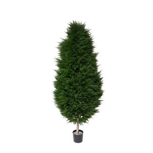 One 6 foot Outdoor Artificial Cypress Water Drop Topiary Tree Potted UV Rated Plant