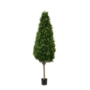 One 6.5 foot Outdoor Artificial Boxwood Cone Topiary Tree Potted UV Rated Plant 78""