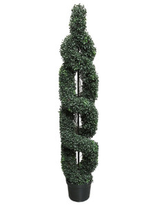 One 5 foot Outdoor Artificial Boxwood Double Spiral Topiary Tree UV Rated Plant