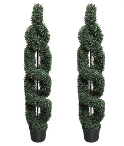 Two 5 foot Outdoor Artificial Boxwood Double Spiral Topiary Trees UV Rated Plants