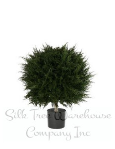 One 24 inch Outdoor Artificial Cypress Ball Topiary Tree Potted UV Rated Plant