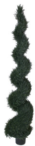 One 8 foot Outdoor Artificial Cypress Spiral Topiary Tree Potted UV Rated