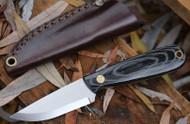 EnZo Necker Knife, Scandi Grind, Black Micarta