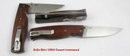 EnZo Birk 75 Folder, Flat Grind, Desert Ironwood Handle Scales