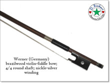 Werner brazilwood violin or fiddle bow; 4/4 round shaft; nickle-silver winding