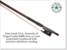 John Juzek violin or fiddle bow; 4/4 size round shaft brazilwood with imitation whalebone winding
