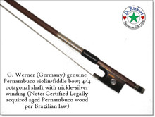 G. Werner Intermediate Violin Bow: Pernambuco, Octagonal Shaft, Parisian Eye, Germany 1