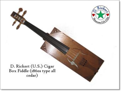 1860s Civil War type cigar box fiddle by D. Rickert Musical Instruments