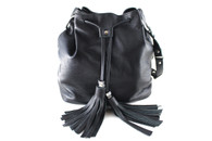 XL Leather Bucket Bag - Black