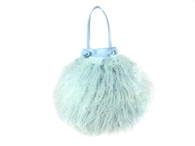 Cotton Candy Mongolian Fur & Leather Drawstring Mini - Baby Blue - LAST ONE!