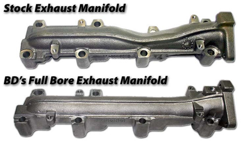 BD Diesel Duramax 6.6L Performance Exhaust Manifold Compared to Stock