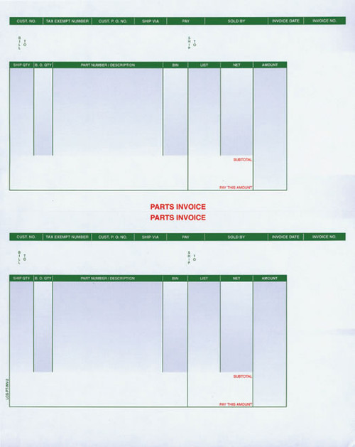 Laser Parts Invoices Double Stack AutoFormscom - Parts invoice template