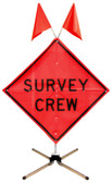 "36"" / 48"" Fold and Roll Mesh Survey Crew Sign w/ Dynaflex Stand"