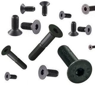 4mm High Tensile Csk Bolts (8 Pack) M4 x 16mm (Including Head) Black (10.9 H/T) Socket Countersunk Allen Key Head Bolt / Screws