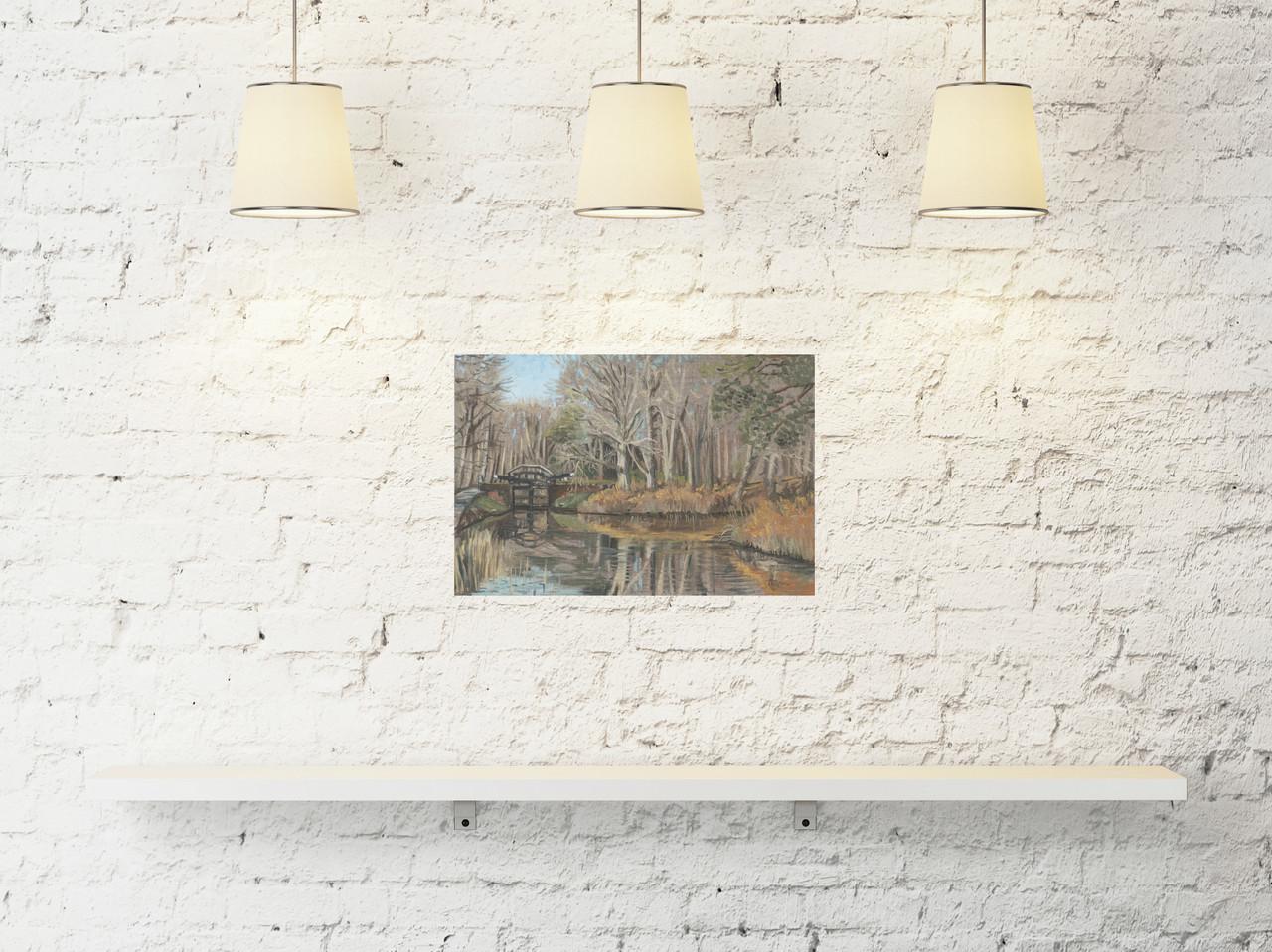 Surrey art, artist painting, canal lock Basingstoke canal
