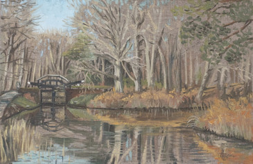 Surrey, Pirbright Canal Painting. Lock, Basingstoke canal.