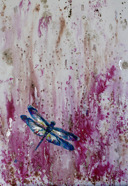 Magenta series: Dragonfly and Silver leaf