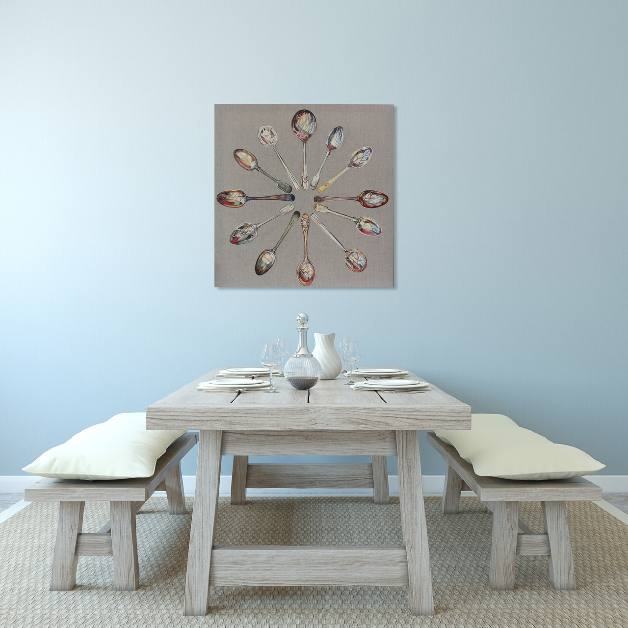 Spoons Clock in Situ context Dining room