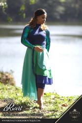 SET 'RIVER' de dos piezas (Unitardo de Lycra y falda elegante simétrica en Chifon con Iridiscentes lentejuelas azul y verde) *NEW* Iridescent Royal Blue/Green Sequined Praise Dance SET of Lycra Unitard and Chifon Symmetrical Skirt ***NEW!