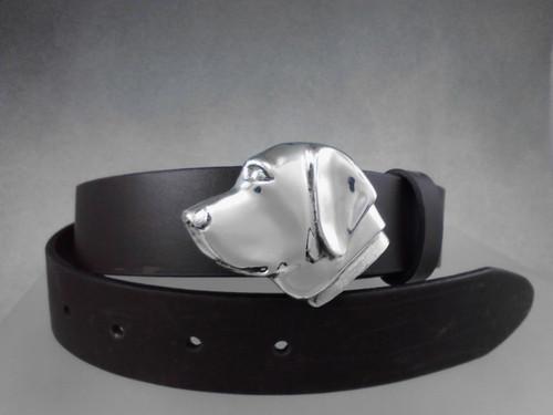 Labrador retriever belt buckle in sterling silver on 1 1/4 belt