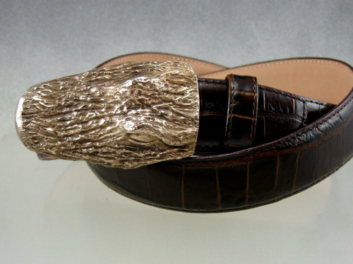 Gator head buckle, textured with natural patina shown on a brown embossed belt, sold separately
