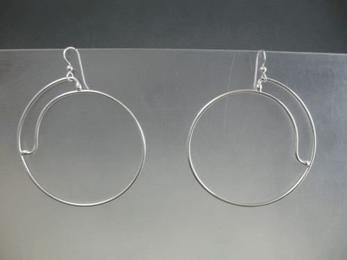 Closed Side Spiral 50mm Crashing Waves Series Hoop Earrings in Sterling Silver