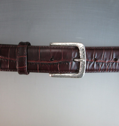 """The Explorer"" Dress Buckle in Sterling Silver Hammered Texture shown on the croc textured belt"