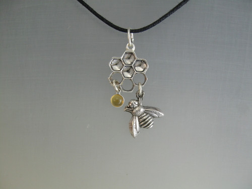 Honeycomb Circle with Bee and Citrine Dangles Pendant Necklace in Sterling Silver