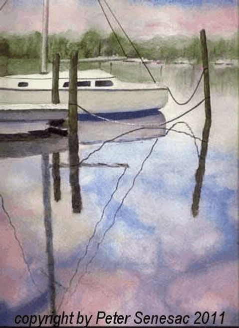 Sky Boat watercolor on paper. 11 x 14 image matted to 16 x 20.