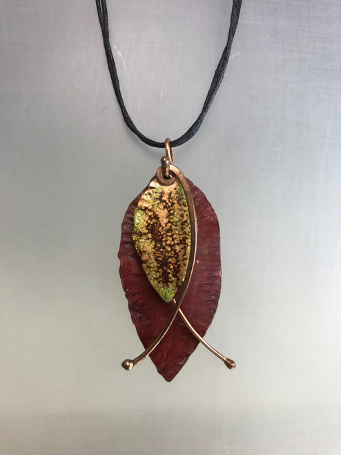 Copper Double Leaf and Stems Necklace