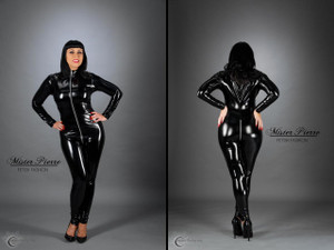 The Custom Catsuit by Mister Pierre is our premium product. Modeled to every curve of your body to precision for a skin tight fit. It is the absolute in dominance and intimidation. We have made custom catsuits for professionals in the BDSM industry throughout the world. If you are seeking a custom garment made to your perfect form then your search ends here.  Featured in this image:  2 inch collar Side Seams Gloss Black 4-way stretch vinyl (Available in all fabrics) Aluminum on Black 2-Slider Crotch Zipper Photo by Sveinn Photography.  Modeled by Scarlette Saintclair.