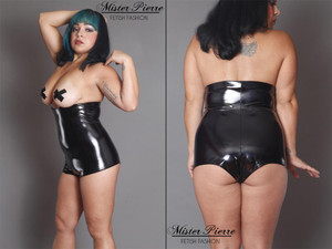 Aren't we a pretty little one? This unisex spandex vinyl garment is designed to leave the subject available to serve in many ways. The height of it leaves the chest or breasts constantly exposed for use and the two slider zipper provides access to the rear and genitalia with ease and speed.  Featured in this image:  4-way stretch Gloss Black Vinyl. (Available in all colors) Cheeky Peeker style bottom. Photo by Meg Schutz.  SKU: CS5 Price: $80.00