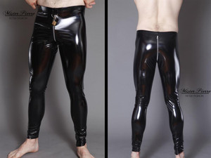 "Vinyl/PVC D-Ring  Leggings From Mister Pierre  Our D-Ring front leggings are unisex and designed for waist leading a servant or using the lock accentuation to send a very clear message of ownership. They have a two-slider crotch zipper for sexual access or genital/rear punishment.  They aren't simply leggings, they are a statement.  Featured in this image:  Hiphugger rise. Front 9"", Rear 12"". Gloss Black 4-way stretch vinyl/pvc (Available in all fabrics) Two-Slider Crotch Zipper Silver/Aluminum Front D-Ring **Padlock Not Included.  Photo by Meg Schutz.  SKU: L4 Price: $90.00"