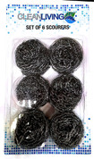 Set of 6 stainless steel scourers