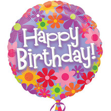 "Happy Birthday Floral 18"" Mylar Balloon"