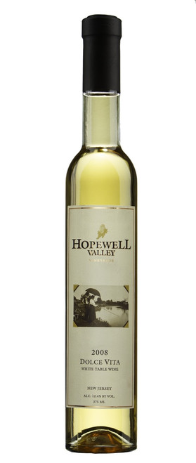 A bottle of Dolce Vita Late Harvest Vidal Blanc wine produced by Hopewell Valley Vineyards - one of many New Jersey wineries