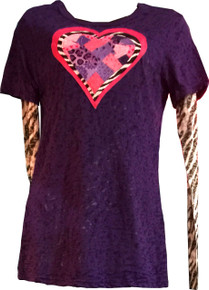 Women's Zebra & Pink Heart Burnout