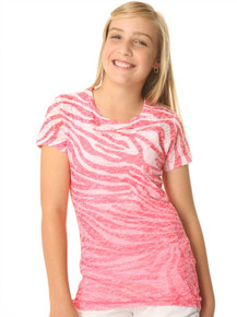 Pink Zebra Short-Sleeved Tween Burnout
