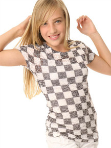 Checkered Short-Sleeved Tween Burnout